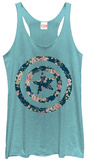Juniors Tank Top: Captain America- Floral Shield T-Shirt