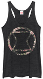 Juniors Tank Top: Black Widow- Floral Logo T-shirts