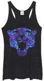 Juniors Tank Top: Black Panther- Floral Logo T-Shirt