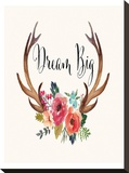 Dream Big Antlers Cream Stretched Canvas Print by Amy Brinkman