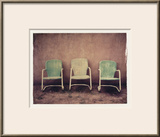 Three Turquoise Chairs Framed Photographic Print by Jennifer Kennard