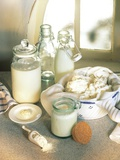 Still Life with Sour Milk Products (Yoghurt, Cream Cheese) Photographic Print by Karl Newedel