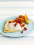 Pancakes with Fruit and Yoghurt Sauce Lámina fotográfica por Gareth Morgans