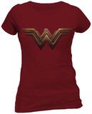 Juniors: Batman vs. Superman- Wonder Woman Gold Logo - T shirt