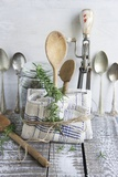 Old Kitchen Utensils: Spoons, Beater, Wooden Spoon and Linen Dish Towel Photographic Print by Martina Schindler