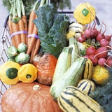 Assorted Vegetables in a Basket at a Farmer's Market Photographic Print by Jordan Provost