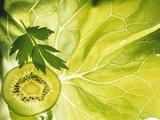 Kiwi Slice and Sprig of Parsley on a Lettuce Leaf Fotografisk tryk af Peter Rees