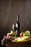 Still Life with Red Wine, Fruit and Cheese Fotografisk tryk af Brigitte Protzel