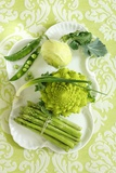 Assorted Green Vegetables on Porcelain Plate Photographic Print by Ulrike Koeb