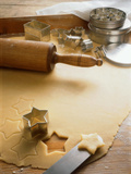 Rolled-Out Dough with Stars and Star Cutter Photographic Print by  Eising Studio - Food Photo and Video