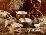 Still Life with Bread, Pretzels and Baking Ingredients Photographic Print by Barbara Lutterbeck