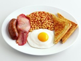 English Breakfast with Fried Egg, Beans, Toast and Sausage Photographic Print by Peter Howard Smith