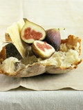 Fresh Figs and Cheese on Rustic White Bread Photographic Print by Ellen Silverman