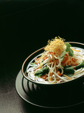 Japanese Noodle Soup (Miso Udon) with Fried Ginger Photographic Print by Frank Wieder