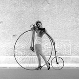 Beauty and the Bike - Penny Farthing Girl Premium Photographic Print by Ken Russell