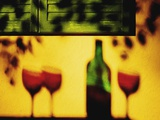 Shadow of Red Wine Bottle and Red Wine Glasses on Wall Photographic Print by Peter Howard Smith