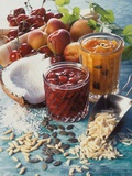 Cherry Jam with Coconut and Apricot Jam with Almonds Photographic Print by Martina Urban