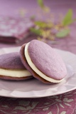 Two Lavender Whoopie Pies on a Plate Photographic Print by Lew Robertson
