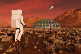 Astronaut Walking across the Surface of Mars Towards a Habitat Dome Posters by  Stocktrek Images