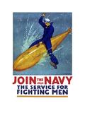 Stocktrek Images - World War I Propaganda Poster of a Sailor Riding a Torpedo Plakát