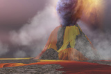Molten Magma Flows from an Erupting Volcano Prints by  Stocktrek Images