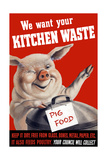 Vintage World Ware II Poster Featuring a Pig Standing with a Garbage Can Prints by  Stocktrek Images
