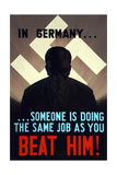 Vintage World Ware II Poster Featuring a Man Standing in a Shadow with Swastika in Back Posters by  Stocktrek Images