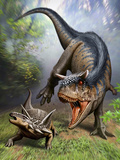 Carnotaurus Attacking an Antarctopelta Armored Dinosaur Posters by  Stocktrek Images