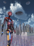 A Futuristic City Where Robots and Flying Saucers are Common Place Posters by  Stocktrek Images