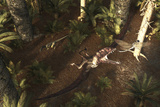 A Dimorphodon Pterosaur Chasing an Insect Prints by  Stocktrek Images