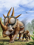 A Rubeosaurus and His Offspring Print by  Stocktrek Images