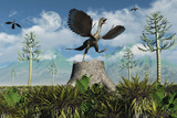 An Archaeopteryx Takes Flight from Atop a Tree Stump Poster di Stocktrek Images,