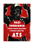 English World Ware II Poster Featuring a Nazi Soldier Raising Hands in Surrender Posters by  Stocktrek Images