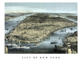 Cityscape View of New York City, Circa 1850 Print by  Stocktrek Images