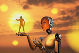 Concept Illustrating Mankind Becoming a Slave to Robotic Technology Poster by  Stocktrek Images