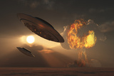 A Pair of Ufo's with a Nuclear Explosion in Background Posters by  Stocktrek Images