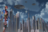 A Futuristic City Where Robots and Flying Saucers are Common Place Prints by  Stocktrek Images