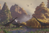 A Herd of Sauroposeidon Dinosaurs Drinking from a River Stampa di Stocktrek Images,