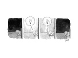 A panel depicts a sleeping man dreaming up a lightbulb, then pulling the l... - New Yorker Cartoon Premium Giclee Print by Tom Toro