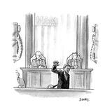 Obama Mic Drop - Cartoon Premium Giclee Print by Benjamin Schwartz