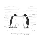 """I'm thinking about freezing my eggs."" - New Yorker Cartoon Premium Giclee Print by Charlie Hankin"