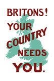 Stocktrek Images - An English World War One Poster with the Outline of Great Britain Plakát