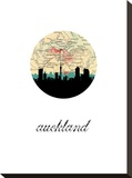 Auckland Map Skyline Stretched Canvas Print