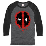 Long Sleeve: Deadpool- Splatter Icon (Raglan) T-shirt