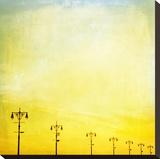 Boardwalk Sunset Stretched Canvas Print by Mina Teslaru