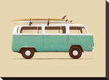 Blue Van Stretched Canvas Print by Florent Bodart