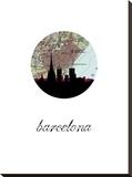 Barcelona Map Skyline Stretched Canvas Print