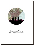 Barcelona Map Skyline Stretched Canvas Print