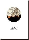 Dubai Map Skyline Stretched Canvas Print