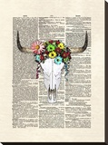 Cowskull Flowers Stretched Canvas Print by Matt Dinniman